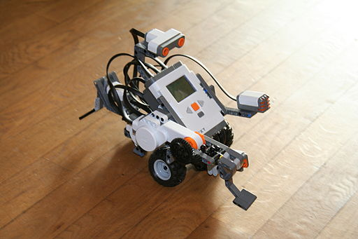 A photograph of a LEGO Mindstorms robot