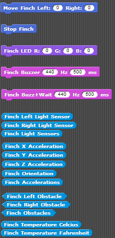 Additional commands from Finch in Scratch
