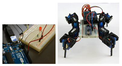 Photographs of Arduinos illuminating a light and as part of a robot